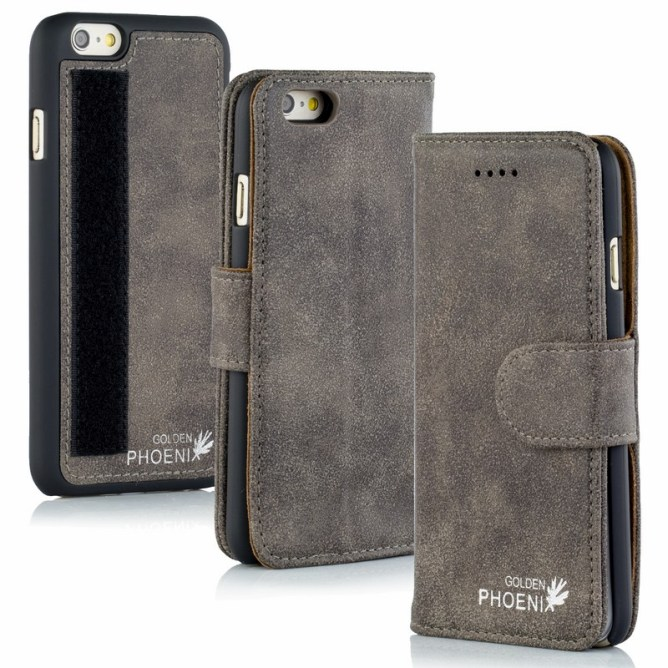 Golden Phoenix iPhone 6S Plus Tasche Royal Etui Wildleder grau