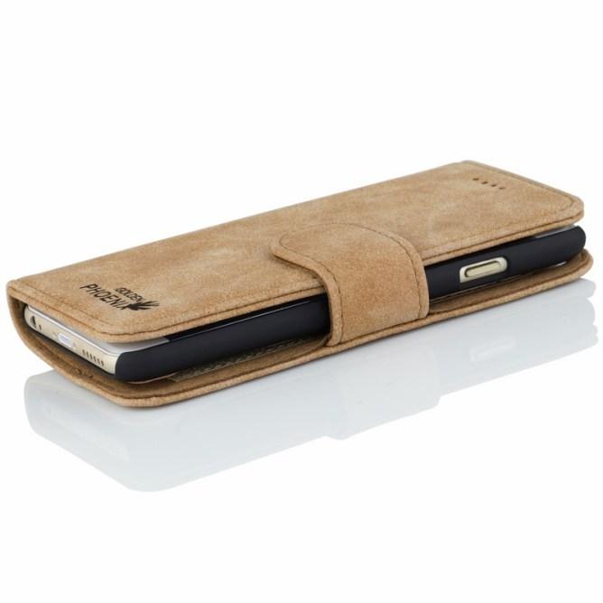 Golden Phoenix iPhone 6S Plus Handyhuelle Royal Wallet-Case Wildleder hellbraun