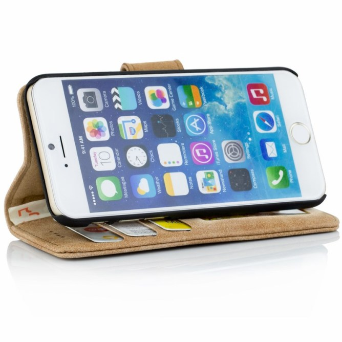 Golden Phoenix iPhone 6S Plus Ledertasche Royal Wallet-Case Wildleder hellbraun Aufstellfunktion