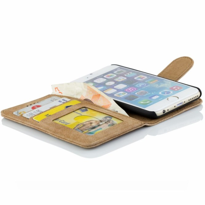 Golden Phoenix iPhone 6S Plus Handyhuelle Royal Wallet-Case Wildleder hellbraun geoeffnet