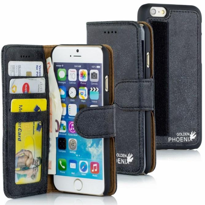 Golden Phoenix iPhone 6S Plus Tasche Royal Wildleder schwarz