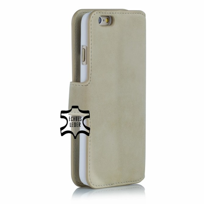 Golden Phoenix iPhone 6S Handyhuelle Klassik Wallet-Case Wildleder beige