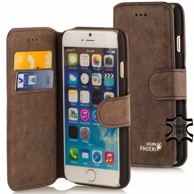 Golden Phoenix iPhone 6S Handyhuelle Klassik Wallet-Case Wildleder braun