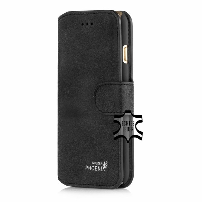 Golden Phoenix iPhone 6S Schutzhuelle Klassik Wallet-Case Wildleder schwarz