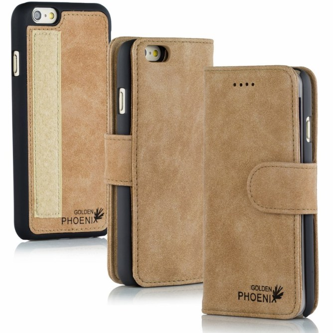 Golden Phoenix iPhone 6S Handyhuelle Royal Wallet-Case Wildleder hellbraun