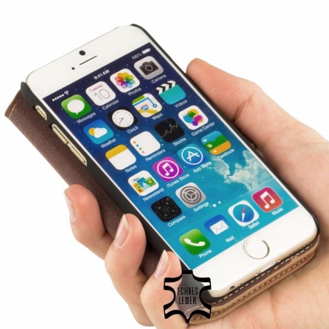 Golden Phoenix iPhone 6 Handyhuelle Klassik Wallet-Case Wildleder braun aufgeklappt