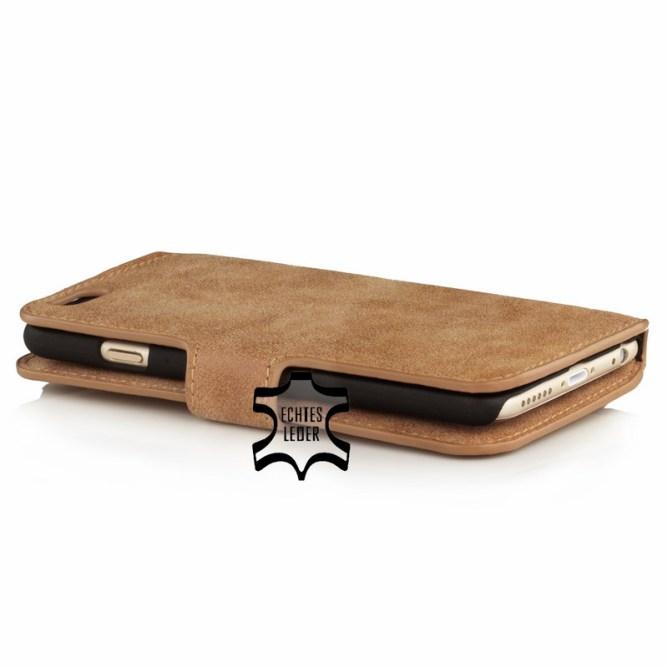 Golden Phoenix iPhone 6 Handyhuelle Klassik Wallet-Case Wildleder hellbraun