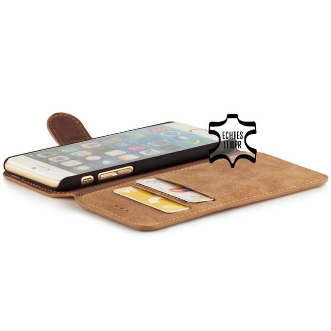 Golden Phoenix iPhone 6 Handyhuelle Klassik Wallet-Case Wildleder hellbraun geoeffnet