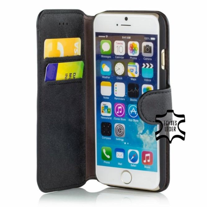 Golden Phoenix iPhone 6 Schutzhuelle Klassik Wallet-Case Wildleder schwarz geoeffnet