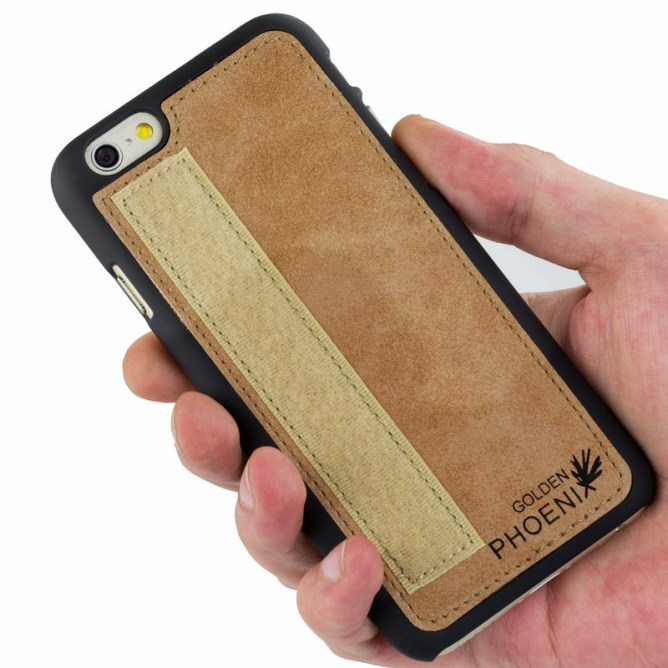 Golden Phoenix iPhone 6 Handy-Tasche Royal Wallet-Case Wildleder hellbraun Backcover