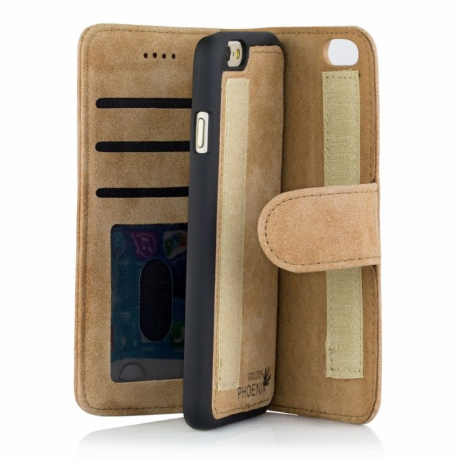 Golden Phoenix iPhone 6 Ledertasche Royal Wildleder hellbraun abnehmbares Backcover