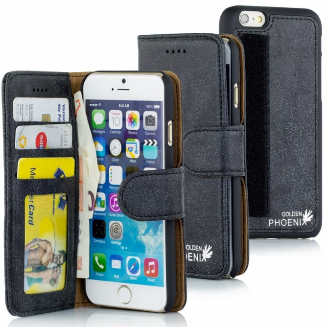 Golden Phoenix iPhone 6  Tasche Royal Leder schwarz