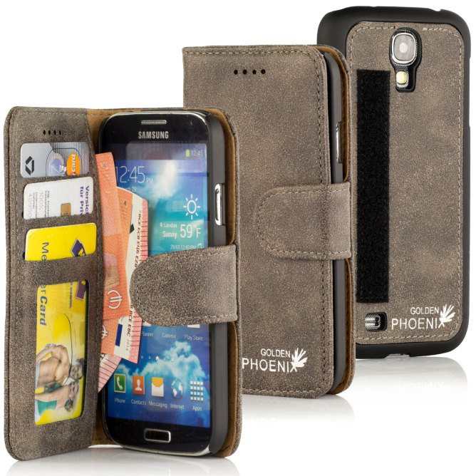 Golden Phoenix Samsung Galaxy S4 Mini handgefertigte Handy-Tasche Royal Wildleder