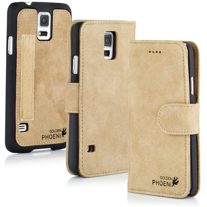 Golden Phoenix Samsung Galaxy S5 Mini Handy-Tasche Royal Wallet-Case Wildleder beige