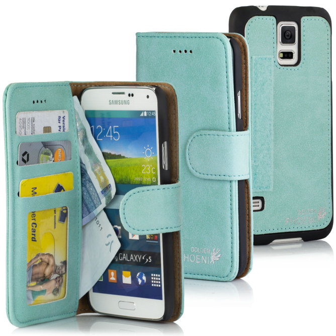 Golden Phoenix Samsung Galaxy S5 Mini Leder-Etui Royal Wallet-Case Wildleder Farben