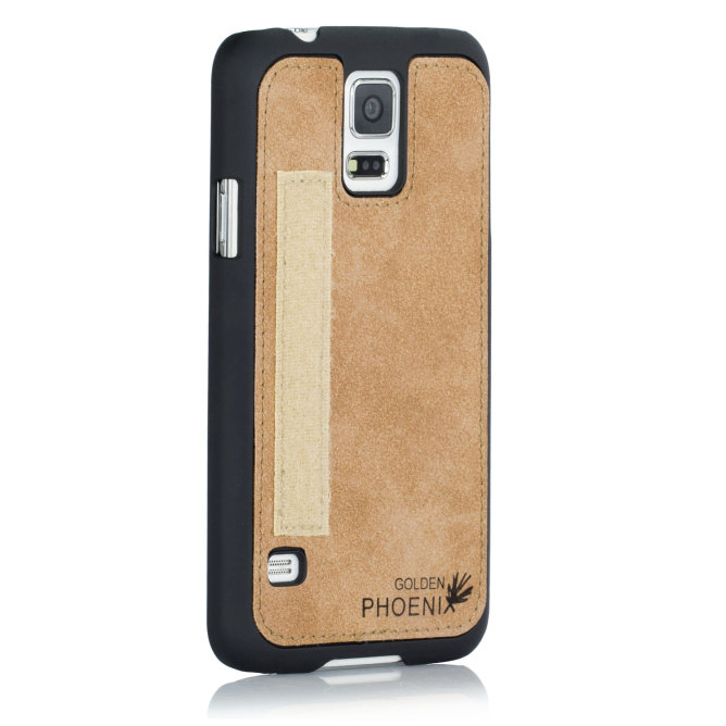 Golden Phoenix Samsung Galaxy S5 Mini Ledertasche Royal Backcover Wildleder hellbraun