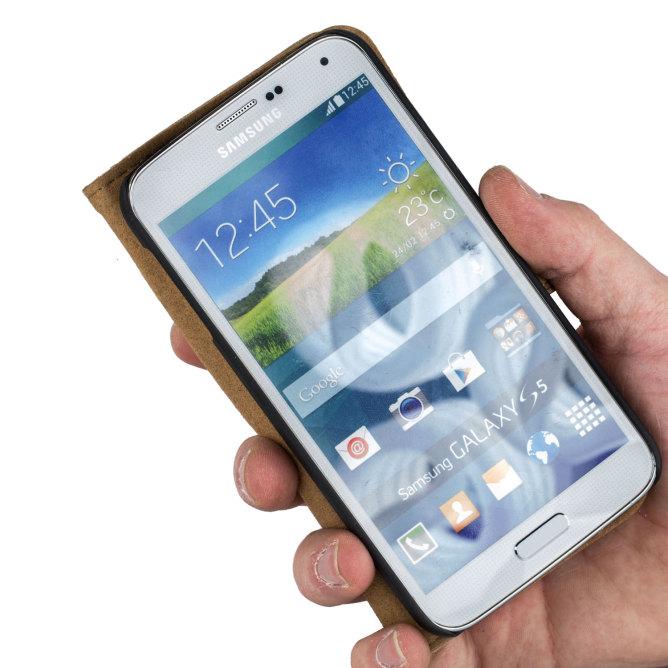 Golden Phoenix Samsung Galaxy S5 Mini Schutzhuelle Royal Etui Wildleder braun aufgeklappt