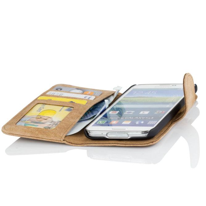 Golden Phoenix Samsung Galaxy S5 Mini Smartphone-Tasche Royal Wallet-Case Wildleder hellbraun geoeffnet