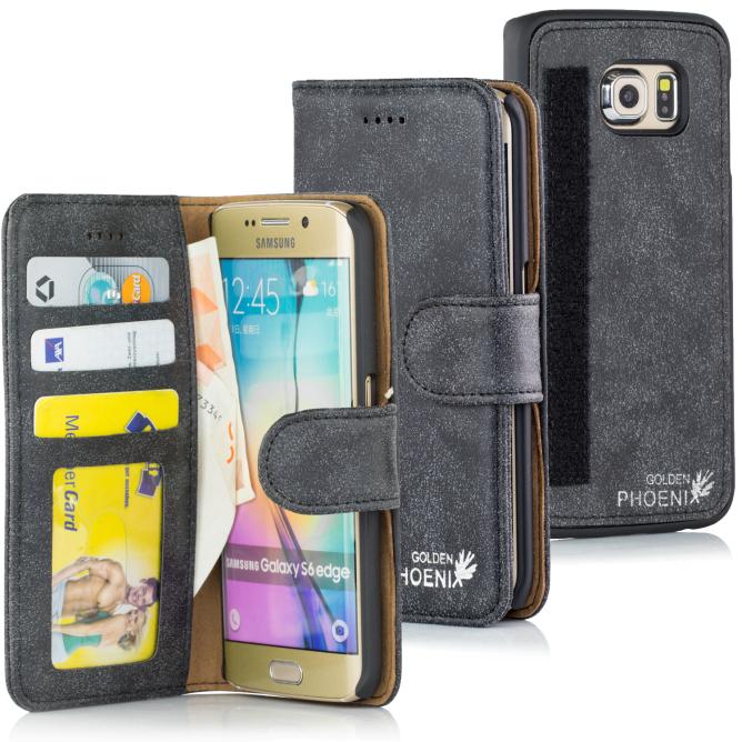 Golden Phoenix Samsung Galaxy S6 Edge Plus Tasche Royal Leder